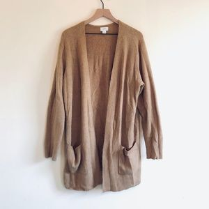 Soft-Brushed Open-Front Long-Line Sweater
